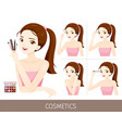 woman with step to apply eyes makeup vector image