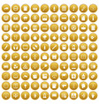 100 information icons set gold vector image vector image