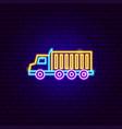18 wheeler truck neon sign vector image