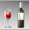 3d realistic wine bottle with wineglass vector image vector image