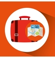 airline ticket map travel suitcase vector image