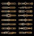 art deco dividers gold deco design lines golden vector image vector image