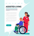 assisred living concept old man in wheelchair and vector image vector image