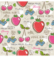 Background with strawberry blueberries vector image