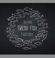 banners hand drawn fish blackboard vector image vector image