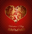 beautiful card with golden heart vector image