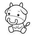 black and white bull character sits forward asian vector image