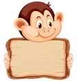board template with cute monkey on white vector image vector image