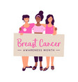 breast cancer awareness month women friend group vector image vector image