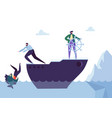 business people floating on the ship leadership vector image