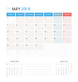 calendar planner for may 2018 vector image vector image