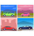 car on roads city jeep and minivan in town vector image vector image