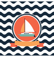 card at sea sailing yacht vector image vector image