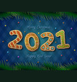 card new year 2021 in shape gingerbread vector image vector image