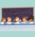 chemistry lab science boy and girls teenager vector image vector image