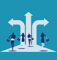 choice way business team with crossroads and vector image vector image