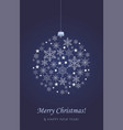 christmas card decorative ball with snowflakes vector image vector image