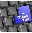 Computer keyboard with Thank You key business vector image