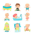cute little babies in different situations set vector image