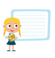 cute little blonde girl with a blank poster for vector image vector image