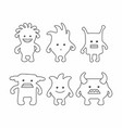 cute monsters set thin line style vector image