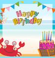 cute pirates cartoon birthday background vector image