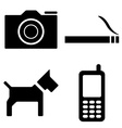 dog camera cigarette phone icons vector image vector image