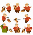dog with owner pensioner with pet on leash vector image vector image