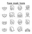 face mask protection virus icons set in thin line vector image