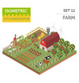 flat 3d isometric farm land and city map vector image