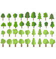 Flat trees Trees set in a flat design icons vector image vector image