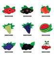 fruit fresh food set in colorful vector image