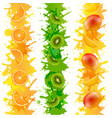fruits border with paint isolated transparent vector image