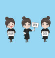 girl chef holds a signage vector image vector image