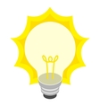 Glowing yellow light bulb icon isometric 3d style vector image vector image