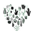 green heart cactus vector image vector image