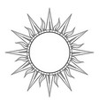 hand drawn etching style frame in a shape sun vector image