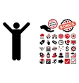 Happy Man Flat Icon with Bonus vector image vector image