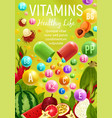 healthy life vegan food and multivitamins vector image vector image