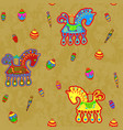 horse and toys folk art stylization repeating vector image