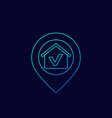 house and pinpoint icon linear vector image