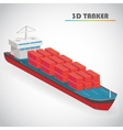 Isometric 3d tanker with freight container icon