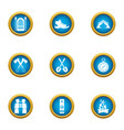 journey to the mystery icons set flat style vector image