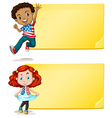Label design with kids and yellow background vector image vector image