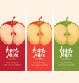 label for apple juice with apple and inscription vector image vector image