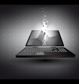 laptop in 3D with light effect vector image vector image