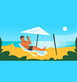 man sunbathing on beach guy in swimwear using vector image