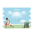 man training tennis with throws balls machine vector image