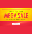 mega sale banner template design in yellow and vector image vector image