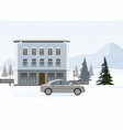 modern cottage with gray car ski resort vector image